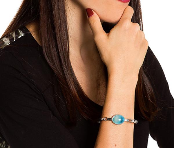 pulseira prata pedra azul